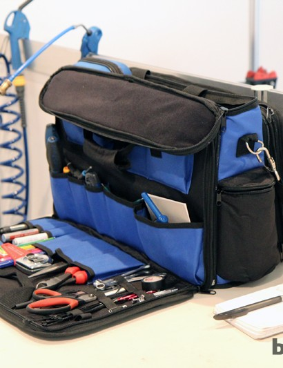 Team mechanics carry their wares in a wide range of containers. Some use a soft-sided case like this