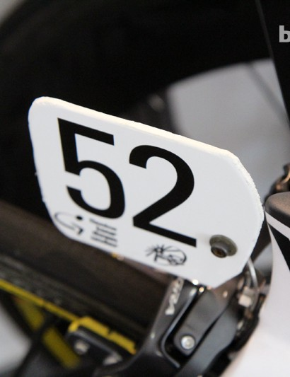 Number plate installation is practically an art in these circles. The ones used at the Tour Down Under are particularly thick and sturdy, meaning they're also harder to cut and shape