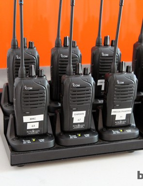 Race radios are given to each team by the race organizer