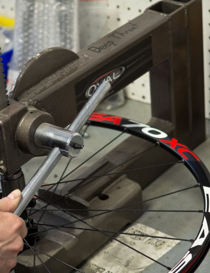 This bearing press is one of many custom-made tools at Competitive Cylists
