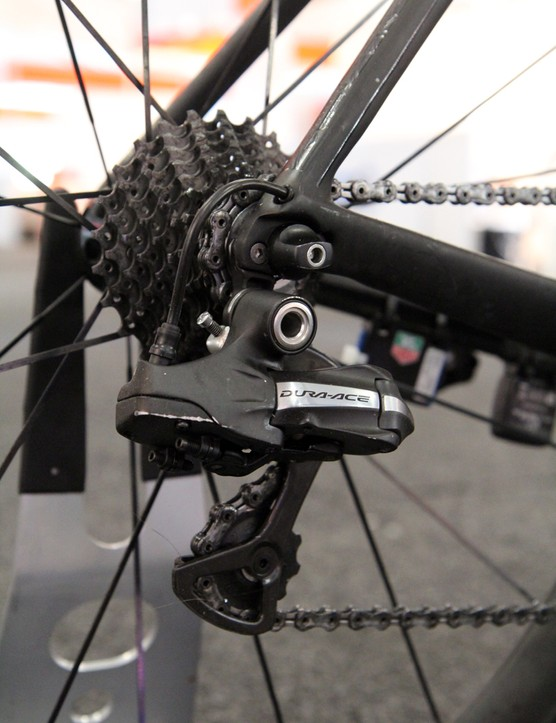 Teams are still using 10-speed Shimano Dura-Ace Di2 groups. Several team mechanics have told us that they don't expect to have enough 11-speed stuff on hand until April 2013