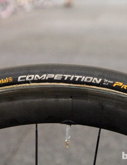 25mm-wide Continental Competition Pro Limited tubulars are mounted to Shimano Dura-Ace WH-9000-C50-TU wheels