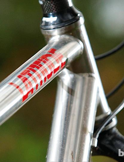 The raw finish is a clue that it's titanium, not steel – titanium doesn't corrode