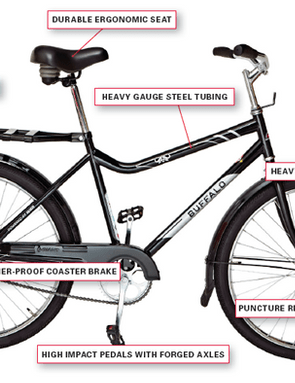 The 'Buffalo Bicycle' is designed to be rugged and can be repaired using locally-sourced parts