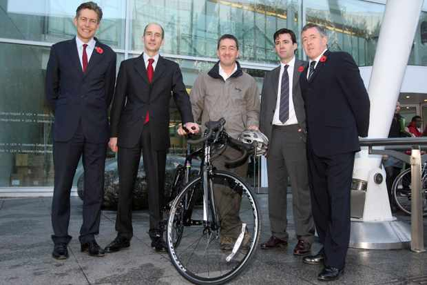 (L-R): Former culture secretary Ben Bradshaw, former transport secretary Lord Adonis, Olympic cycling champion Chris Boardman, former health secretary Andy Burnham and former communities secretary John Denham outside the University College London Hospital at the launch of the Cycle to Work scheme in 2009