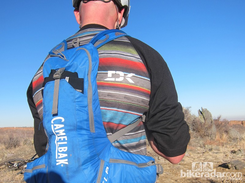 Knowing their audience, Dakine offset their logo on the back so as not to be covered up by a hydration pack