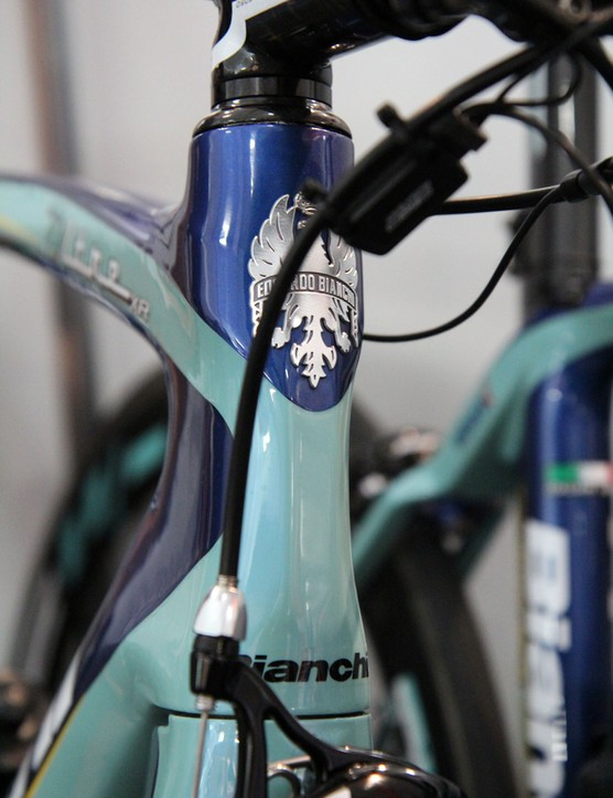 The sculpted front end of Willem Wauters' (Vacansoleil-DCM) Bianchi Oltre XR