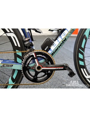 Vacansoleil-DCM team bikes are fitted with Campagnolo Super Record EPS transmissions but FSA K-Force Light cranks and KMC chains