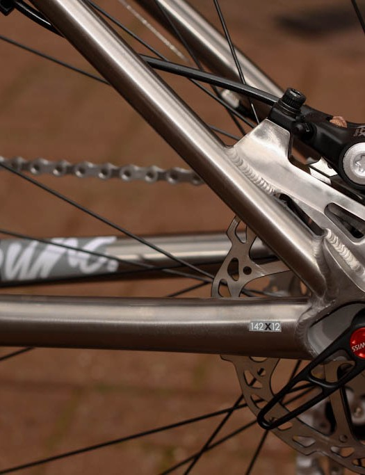 Stiffness wins over spring as chunky chain stays meet at neatly machined post mount disc bracket