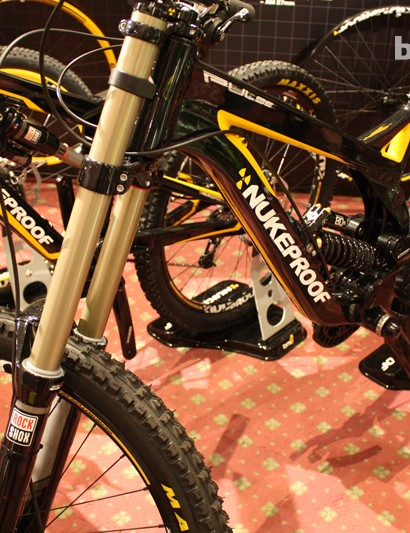 The Nukeproof Pulse downhill bike was sitting pretty at the Hotlines stand. A frameset will cost you £1,799.99 and complete builds start at £2,999.99