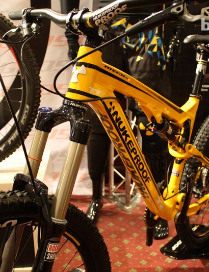The Nukeproof Mega TR was on display. This 130mm frame looks set to be a singletrack slayer