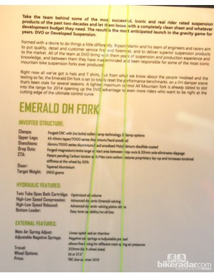 Spec sheet for the DVO Emerald fork