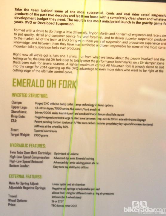 Spec sheet for the DVO Emerald fork