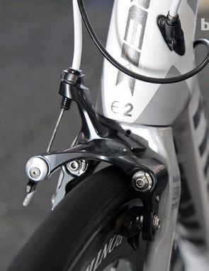 The RadioShack Leopard team uses Shimano's new direct-mount Dura-Ace brake calipers