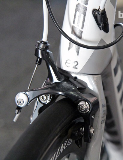 The RadioShack Leopard team uses Shimano's new direct-mount Dura-Ace brake calipers