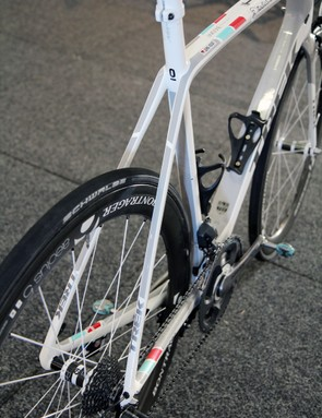 The rear brake has been moved below the chain stays, leaving the seat stays bare and bridgeless