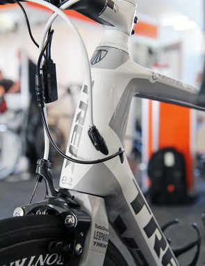 The rear brake isn't accessible by the rider on the road, so Trek has integrated a barrel adjuster into the housing stop on the head tube