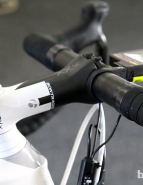 The Bontrager Race XXX Lite carbon fiber stem measures 120mm in length