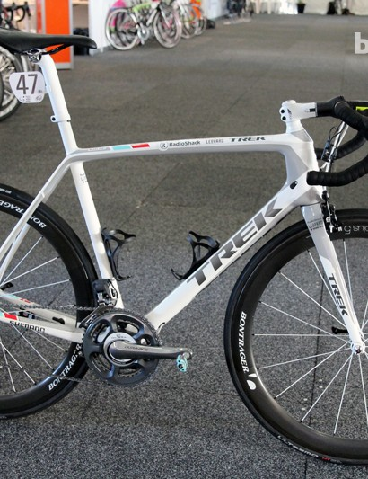 Jens Voigt's (RadioShack Leopard) Trek Madone 7 Series stands at the ready - literally - just before the start of the 2013 Santos Tour Down Under