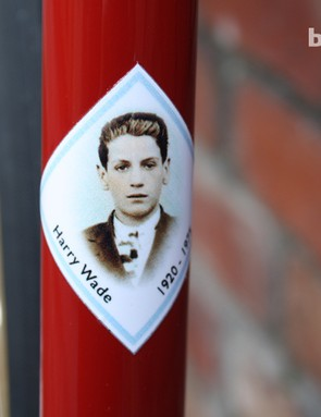 This frame decal of Harry Wade is similar to those used by pro riders on their frames through the 1950s to the '70s