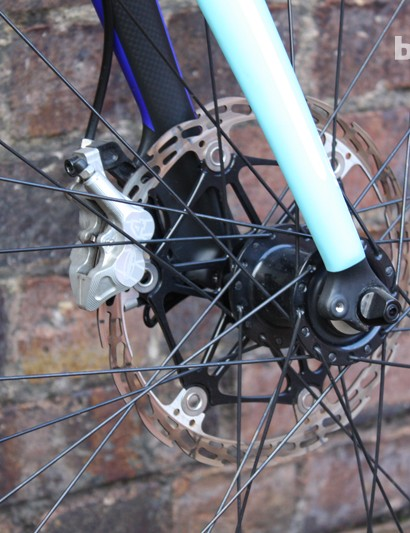 Hope hydraulic discs in full-on 203mm downhill spec meant that additional strength had to be added to the fork