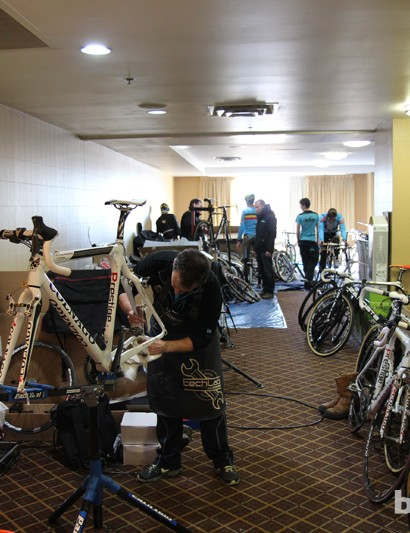 The Belgian national team took control of a sizeable conference room at the Sheraton Hotel in Louisville. Team mechanics were definitely happy to be working indoors