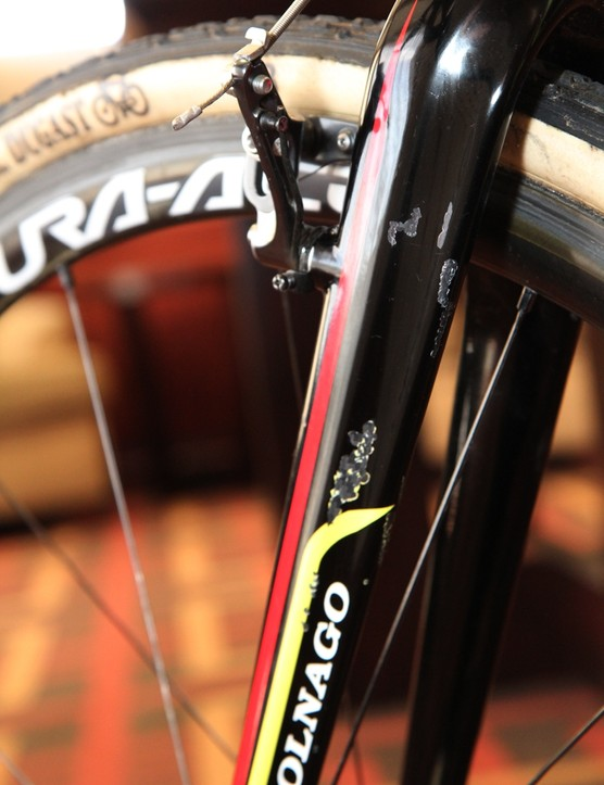 Sven Nys's (Crelen-Euphony) Colnago Prestige bears the scars of racing - and travel
