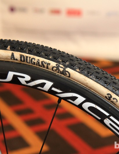 Dugast's new Fast Bird tubulars were mounted front and rear the day before the race