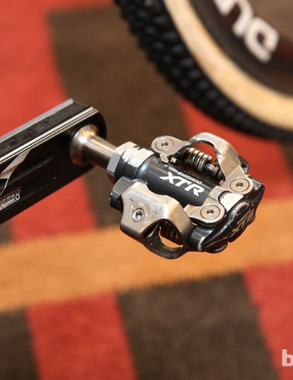 Once again, we're seeing older-style Shimano XTR pedals. Despite the newer version's increased platform area, 'cross racers apparently favor the previous style for their more consistent performance in heavy mud