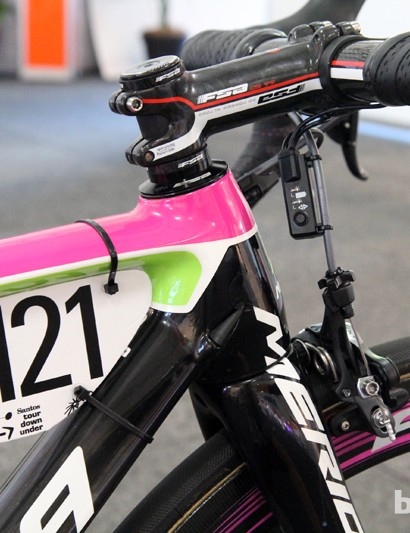 The head tube on Matthew Lloyd's (Lampre-Merida) Merida Scultura SL is just 110mm long. Note the careful trimming of the race number plate by the team mechanics