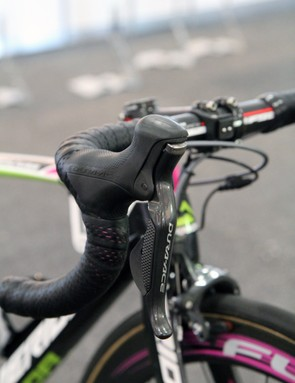 As is the case with most Shimano-sponsored pros, Matthew Lloyd (Lampre-Merida) is still using previous-generation Dura-Ace Di2 componentry until the newer version is more widely available