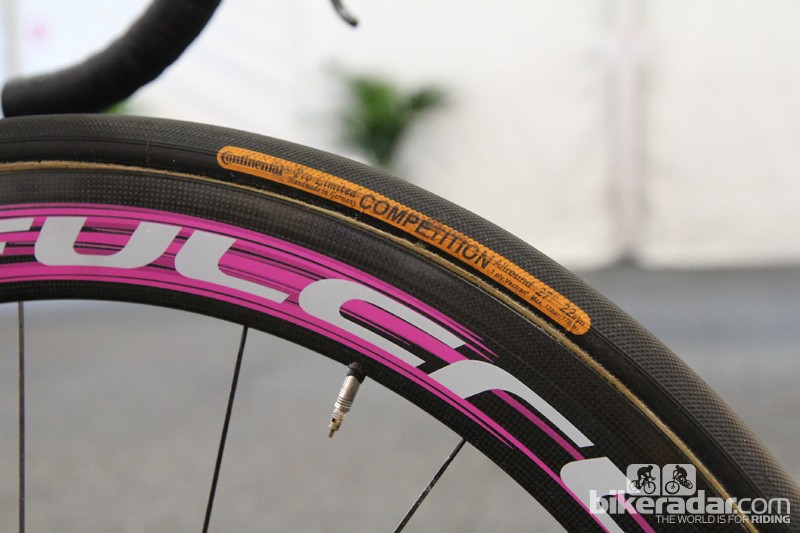 While many pros are moving to wider tires, Matthew Lloyd's (Lampre-Merida) Fulcrum Racing Speed XLR wheels are wrapped in 22mm-wide Continental Competition Pro Limited tubulars