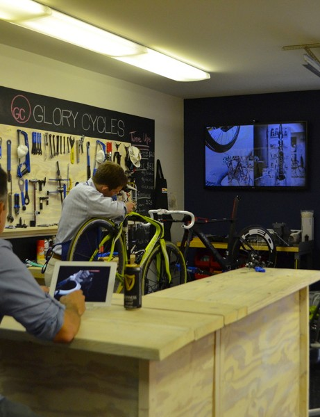 Work on your bike, watch a video and have a drink — all on the house