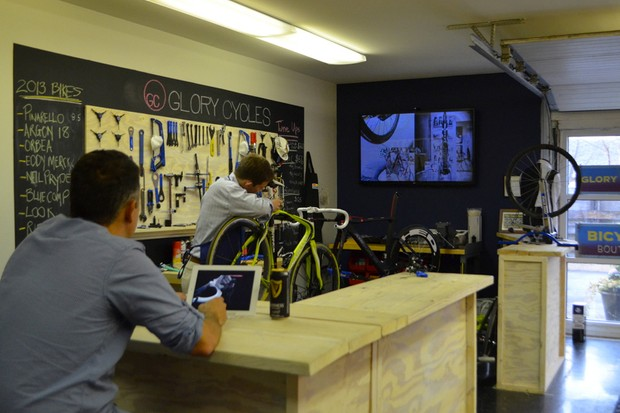 Work on your bike, watch a video and have a drink —all on the house