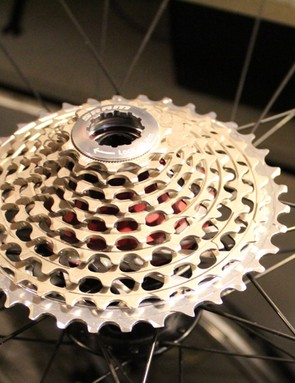 At first glance the SRAM cassette looks normal on the wheel