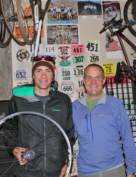 Rus Kappius with his son, another engineer, Brady Kappius. The younger Kappius also has a small business, Broken Carbon