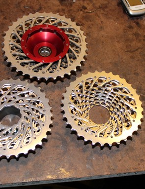 Three stages of a Kappius SRAM cassette