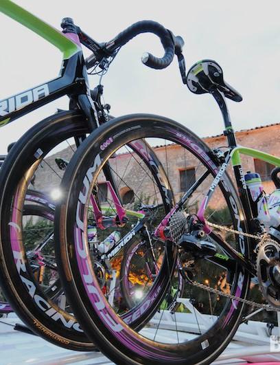 Team Lampre-Merida bikes ready for the presentation
