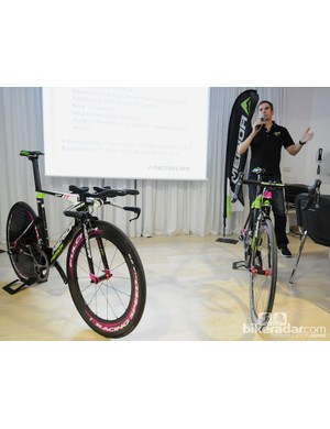 Jurgen Falke, chief designer at Merida, leads the presentation about the new road bikes