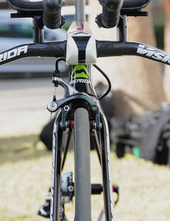 From the front you can see the wide stance of the fork legs