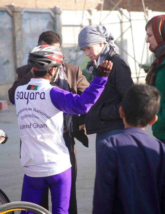 National Geographic Adventurer of the Year finalist Shannon Galpin speaks with the coach of the Afghan national cycling teams
