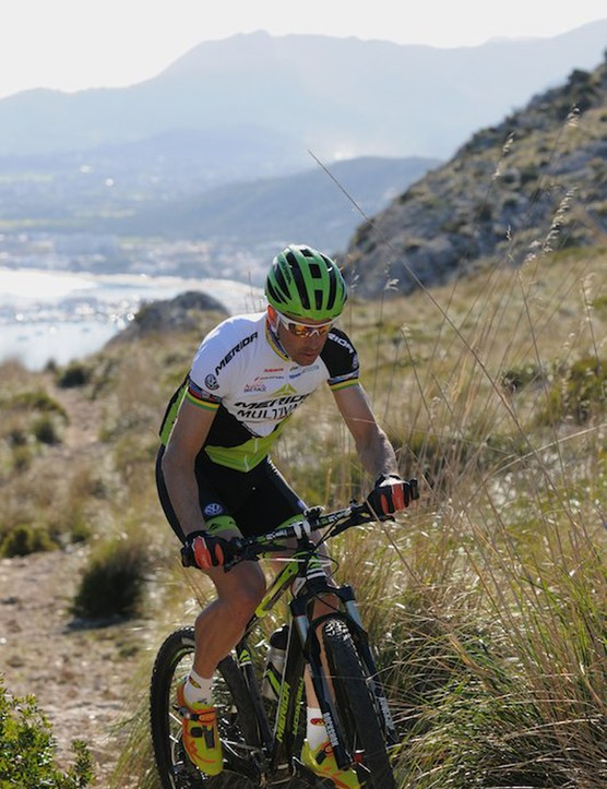 Climbing the rocky slopes above Alcudia in Mallorca