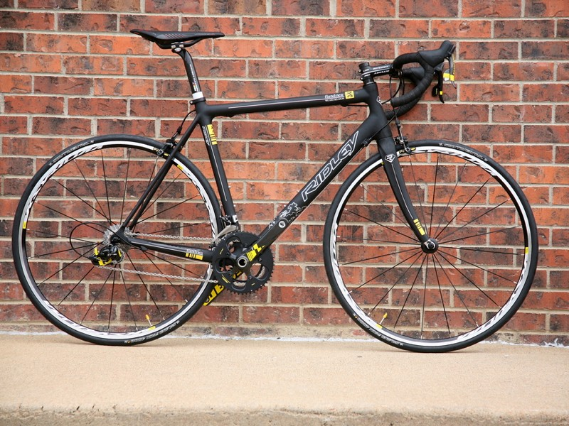 Excel specializes in custom builds like this Ridley with yellow-highlighted special edition SRAM Red