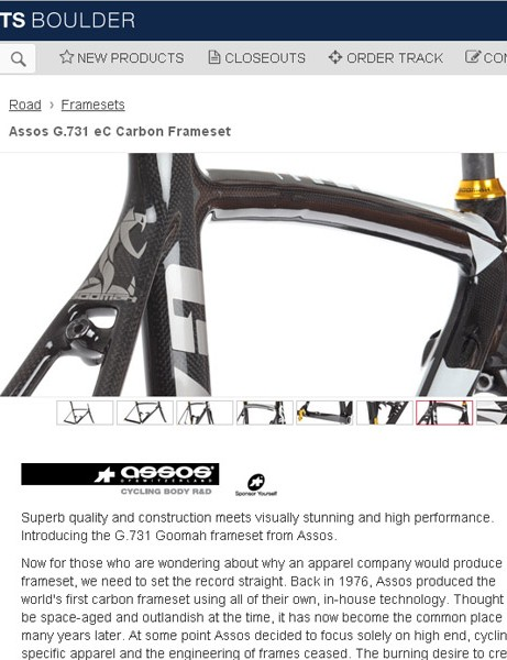 Excel's website is a major driver of the business. There you can get high-end commodoties plus more unusual stuff like as Assos frameset