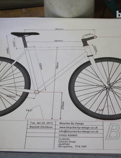 BikeCAD software is then used to simulate the frame and calculate exact dimensions. It can even be used to highlight potential overlap and clearance issues