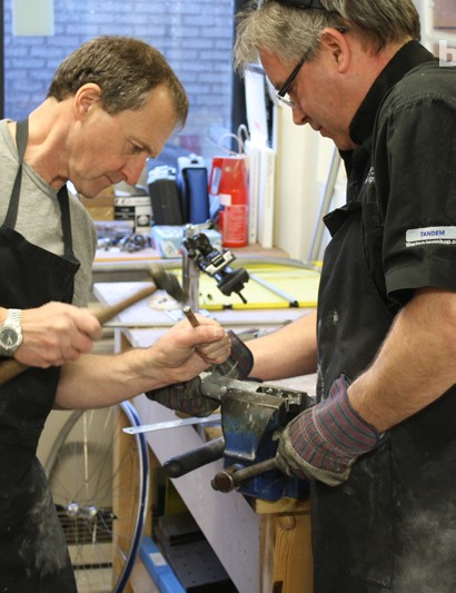 Once all cuts are correct, the lugs have to be offered up to the tubes – some are a very tight fit!