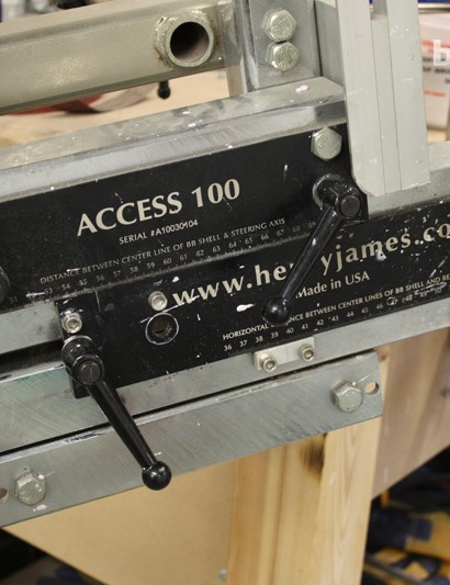 All measurements are then dialled into the frame building jig