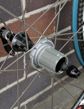 The freehub body fitted to this Corima AERO+ wheel is for Shimano 10-speed cassettes only