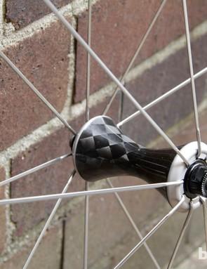 The 20-hole front wheel uses Sapim CX-Ray spokes
