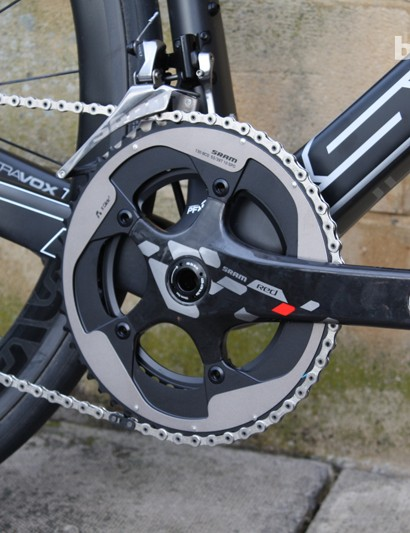 The SRAM Red chainset slots into the press-fit BB30 shell of the Ultravox Ti